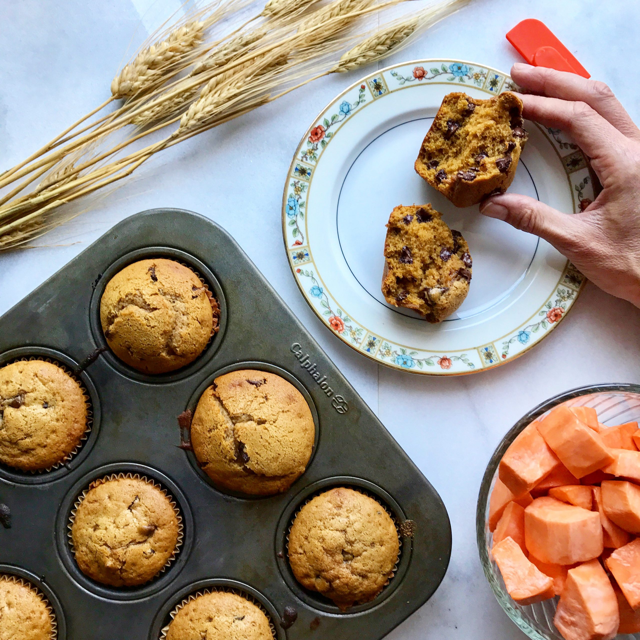Sweet Potato Chocolate Chip Muffins