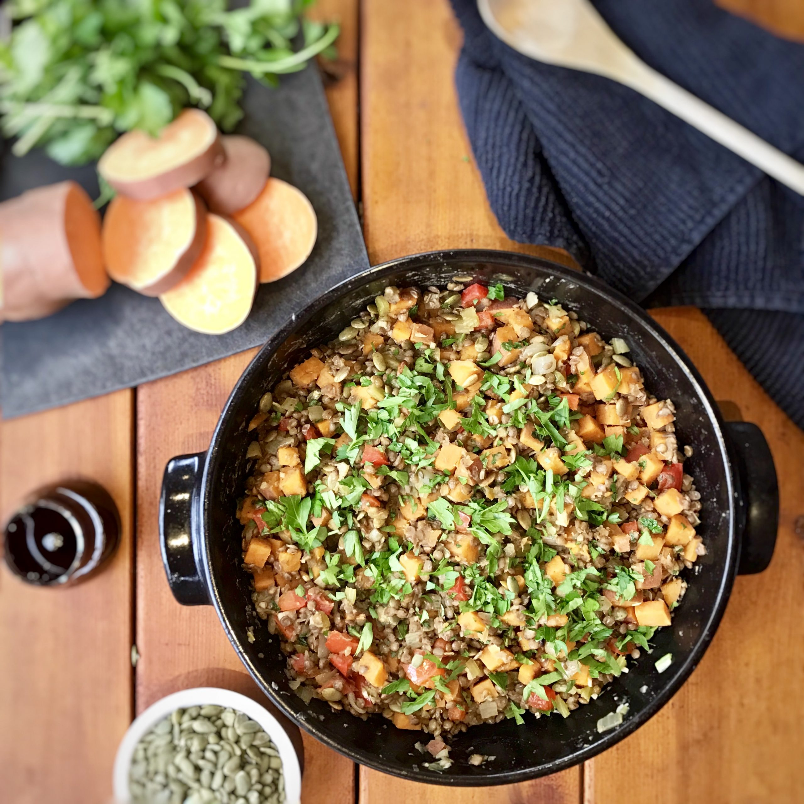 Sweet Potato & Lentil Goulash with Pumpkin Seed Oil