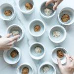 Gluten Free Almond Chia Butter Balls in White Jars