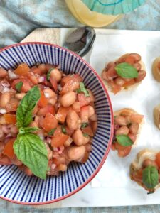 Brushcetta with Tomatoes & Beans