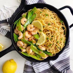30 Minute Garlic Butter Shrimp & Snow Pea